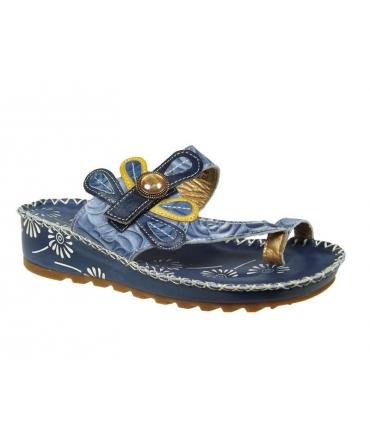 Laura Vita sandale compensée Valerie bleu