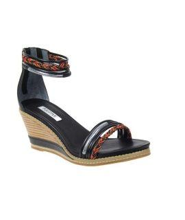 Fugitive sandale compensée Iako noir multi, style tribal