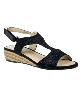 Sandale compensée cordes kelara glitter noir, nouveauté