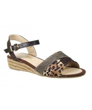 Kelara sandale compensée k 62286-3 café, leopard & glitter