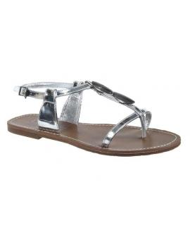 Sandale Les P'tites Bombes Lucinda métal argent