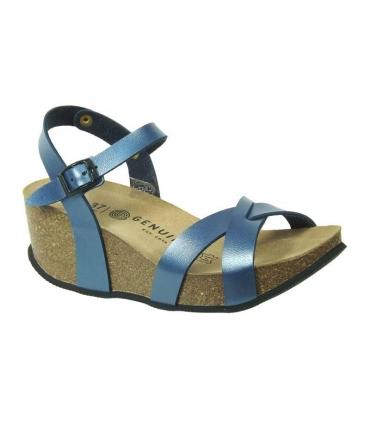 Sandale confortable genuins Cannnes métal bleu
