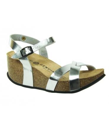 Genuins sandale compensée confort Cannes argent