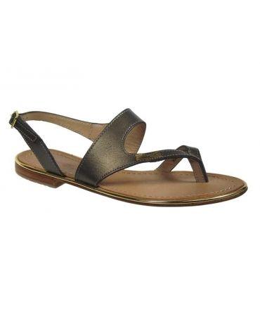 Les Tropéziennes sandale plate Badge bronze