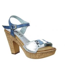 Di Que Si Shangay sandale à talon en cuir bleu