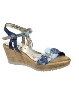 Di Que Si sandale compensée, 6002 marine + papillons bleu