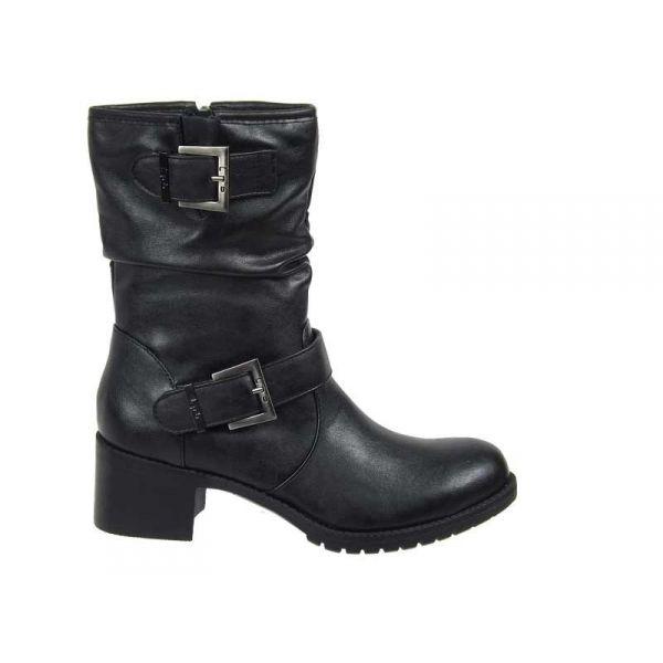vente en ligne de bottines lpb shoes elina double boucle en simili cuir noir. Black Bedroom Furniture Sets. Home Design Ideas