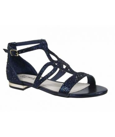 Nu-pieds Elue par Nous Zefuse | Sandale Strass bleu marine