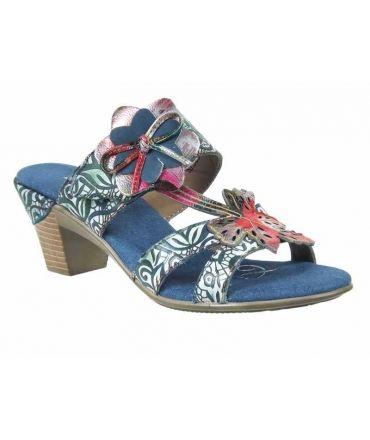 Nouveauté nu-pieds à talons Laura Vita Bettino 01 bleu jeans