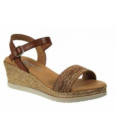 Sandales compensées cuir tréssé, beige