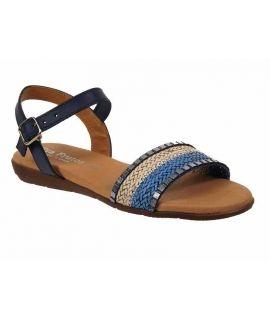 Sandale confort Eva Frutos 7191 bleu multi bride à la cheville