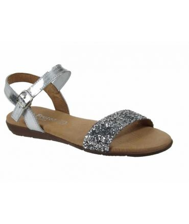 Eva Frutos nu pieds plat confortable GL-7190 -1 argent glitter