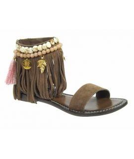 Nu pieds style ethnique Métamorfose Zabrin marron | Sandale à franges et pompons