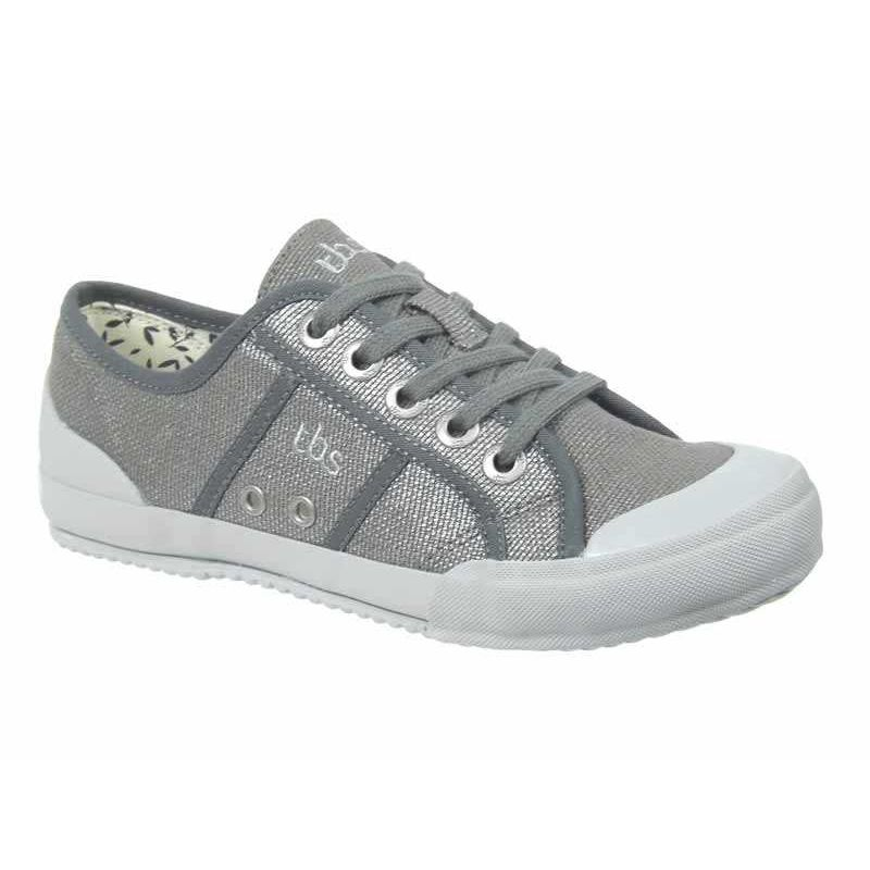 2ee42c9ab63ec Basket toile Tbs Opiace anthracite | Tennis lacets femmes. Loading zoom