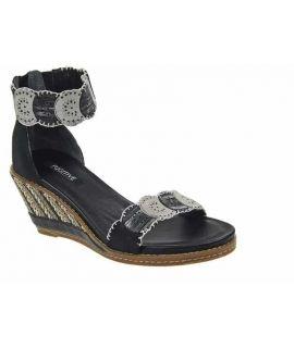 Sandale à talon compensé Fugitive Igoa noir