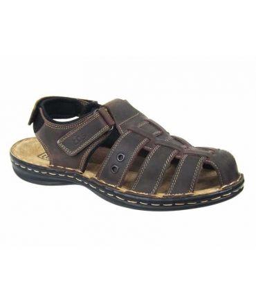Sandale cuir TBS Barrow marron double velcro
