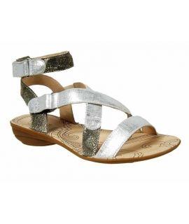 Sandale plate Fugitive Abion argent et kaki