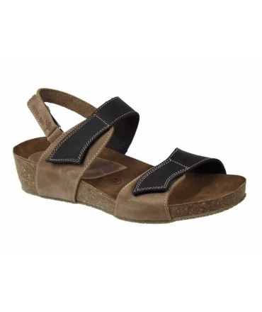 Sandale velcro InterBios 5343 cuir naturel beige