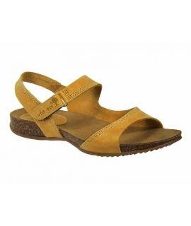 Sandale femme InterBios 4455 jaune, fermeture velcro