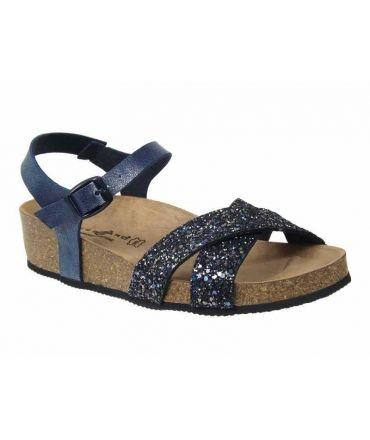 Sandale bio Kedzaro Paname bleu + strass