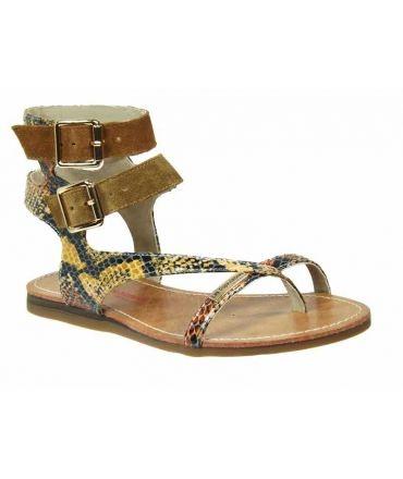 prix attractif chaussures authentiques Livraison gratuite dans le monde entier Ventes sandales plates cuir Les Tropéziennes par M Belarbi Gem aspect  serpent