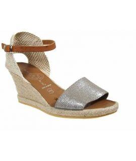 Espadrille à talon Kedzaro Joja gris | Sandale cuir & corde