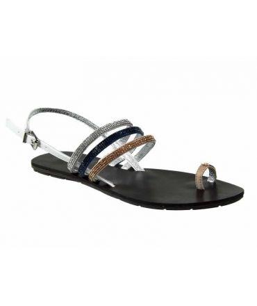 Nu pieds strass Chattawak Nina bleu